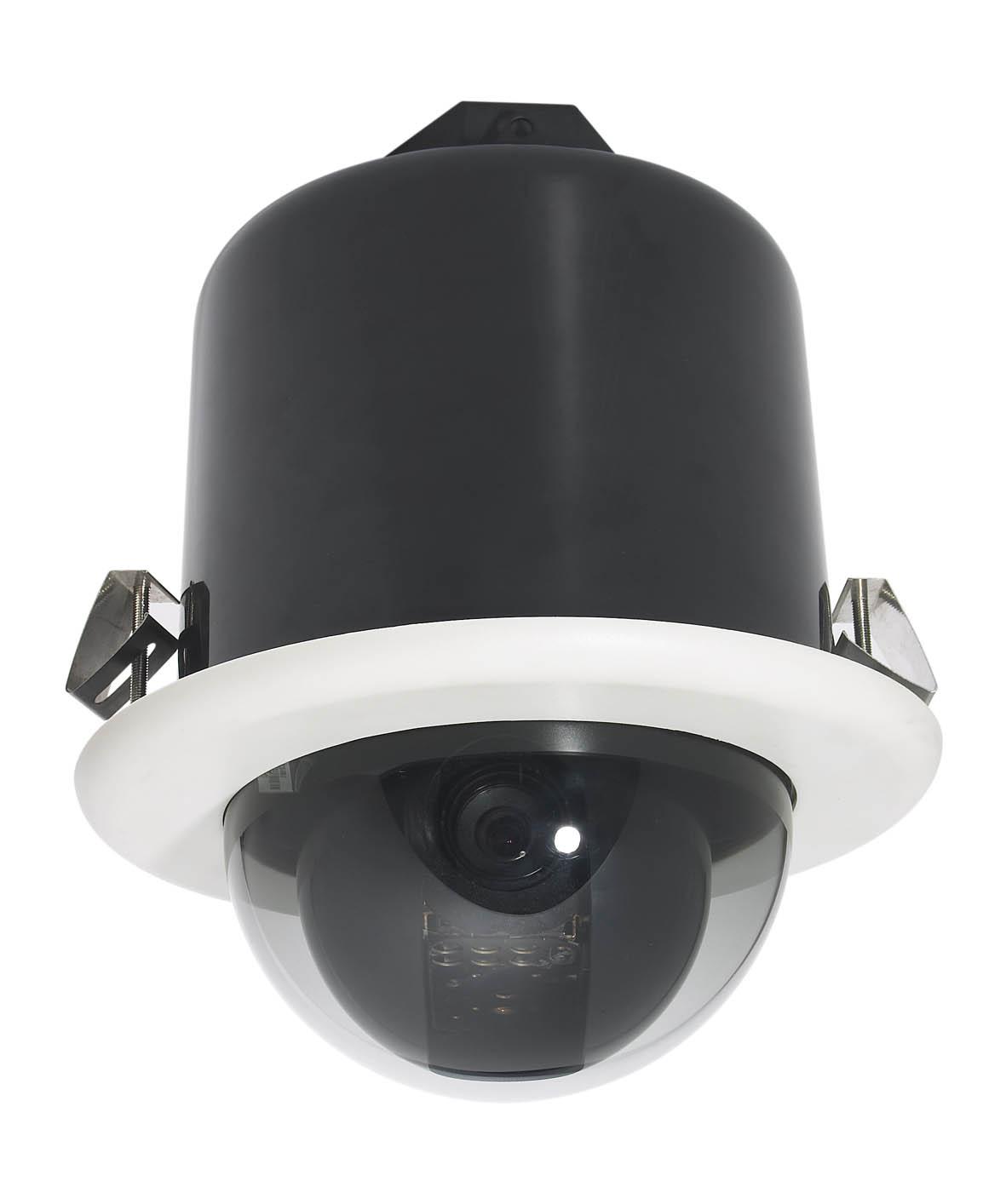 半球型专为室内环境设计 上罩由高强度阻燃ABS材料制成,耐老化、耐高温、抗腐蚀 下罩采用进口亚克力光学材料,透光率高,不失真 精密步进电机驱动,反应灵敏,运转平稳,操作平滑无抖动 防护等级IP65  调用球机菜单功能  球机唯一身份ID,可以实现远端快速地址控制  自动水平扫描/两点间立体扫描/花样扫描功能  守望位功能  分组预置位巡检功能(分为4组,每组最多32个预置位,预置位可任意设定,以实现4条巡航轨迹)  可变巡视速度  可变巡视停留时间(可分别设置各预置点的单独停留时间,默认相同)